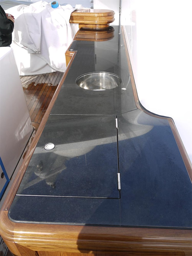 Change of Style counter tops on a yacht